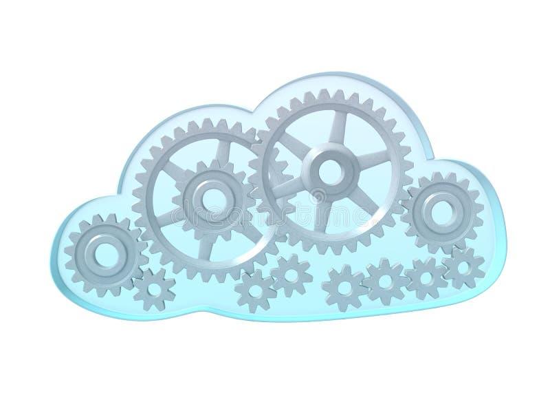 Nuvem de computação com engrenagens ilustração do vetor