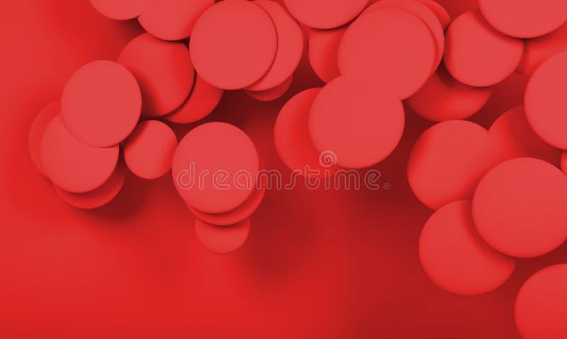 Nuvem de esferas abstratas vermelhas Digitas 3d ilustração royalty free
