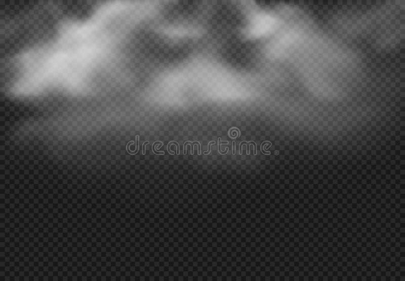 Nuvem de fumo Nuvens da névoa, névoa fumarento e efeito nebuloso realístico ilustração isolada do vetor ilustração royalty free