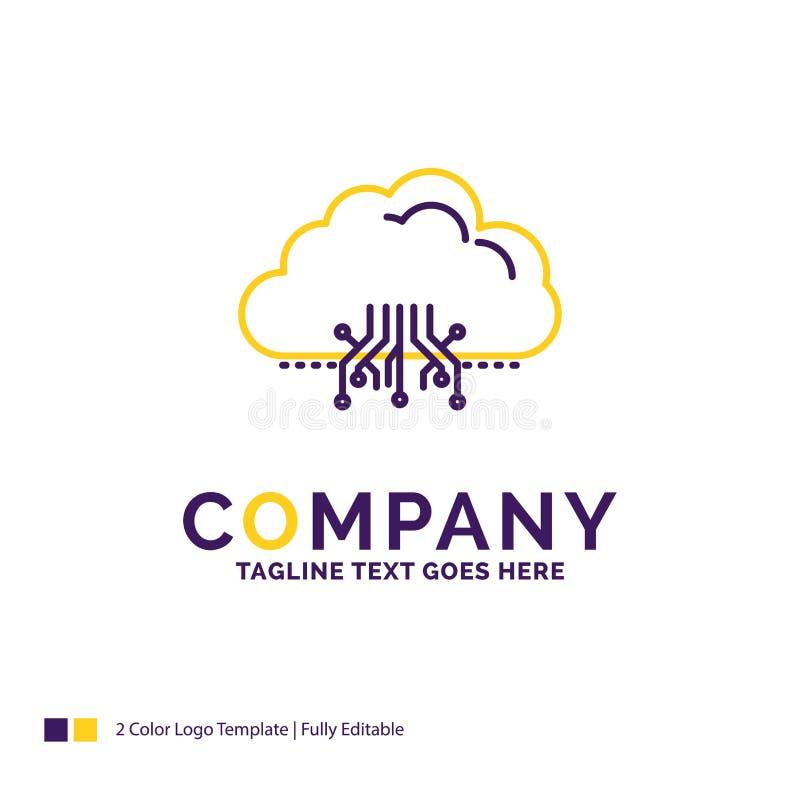 Nuvem de Logo Design For do nome da empresa, computando, dados, hospedando, ne ilustração do vetor