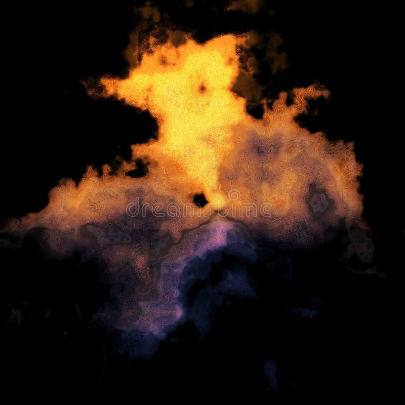 Nuvem de poeira alaranjada e roxa ilustração stock