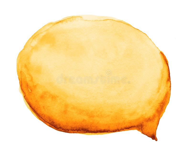 Nuvem do amarelo do mel da aquarela, bolha alaranjada do discurso isolada sobre ilustração stock