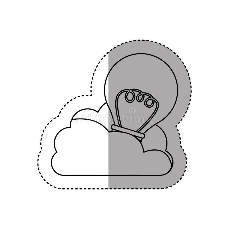 nuvem do contorno da etiqueta na forma do cúmulo com a ampola com filamentos ilustração royalty free