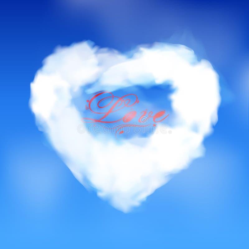 Nuvem do coração do amor com texto do amor imagem de stock royalty free