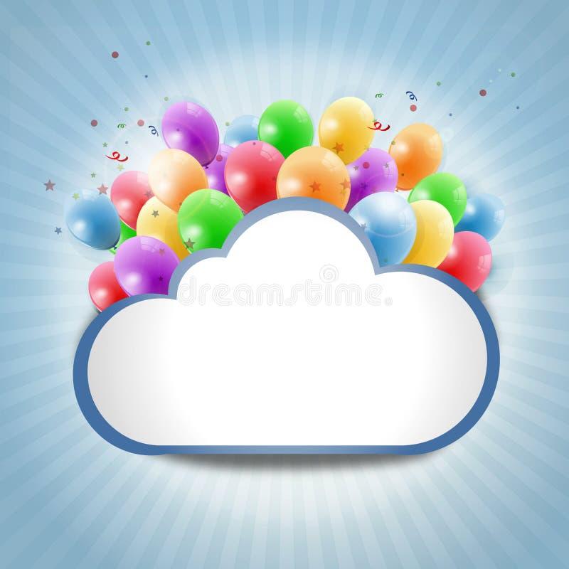 Nuvem do Internet com balões coloridos ilustração do vetor