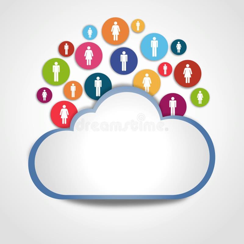 Nuvem do Internet com povos sociais ilustração royalty free