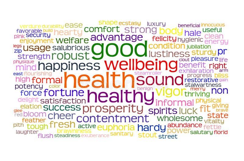 Nuvem do Tag da boa saúde e do bem estar ilustração royalty free