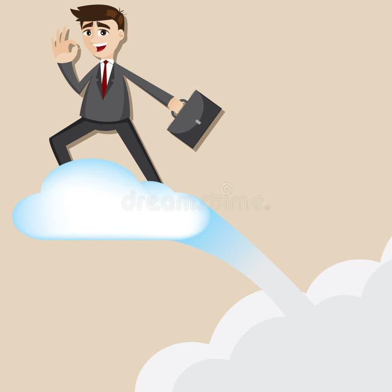 Nuvem do voo da equitação do homem de negócios dos desenhos animados ilustração royalty free
