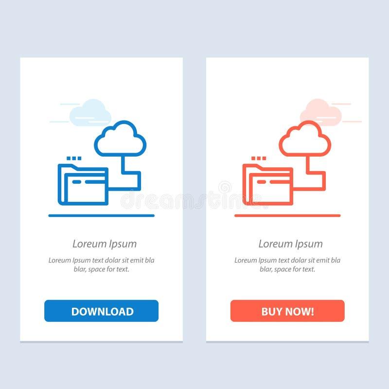 Nuvem, dobrador, armazenamento, azul do arquivo e transferência vermelha e para comprar agora o molde do cartão do Widget da Web ilustração do vetor
