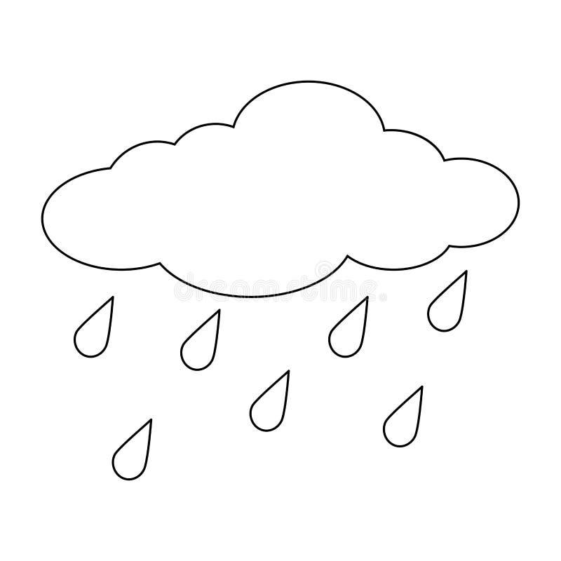 A nuvem dos desenhos animados com chuva deixa cair o esboço isolado no backgrou branco ilustração royalty free