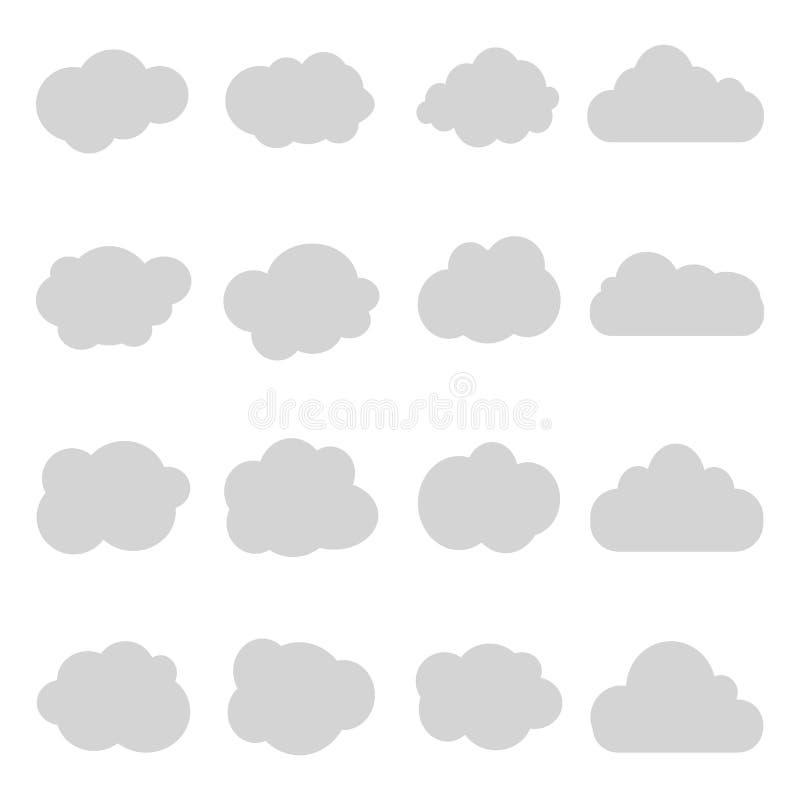 Nuvem dos desenhos animados do céu no fundo isolado Céu gráfico no estilo do vintage Coleção lisa da nuvem cinzenta Ajuste ícones ilustração stock