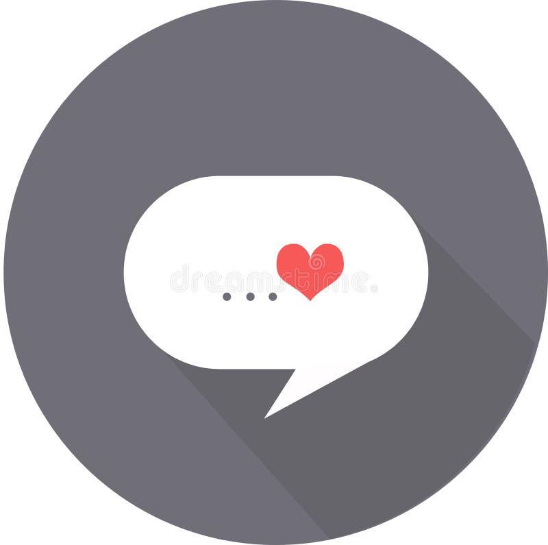 A nuvem dos pensamentos do ícone liso do dia do ` s do Valentim do amor no fundo cinzento com sombra imagem de stock royalty free