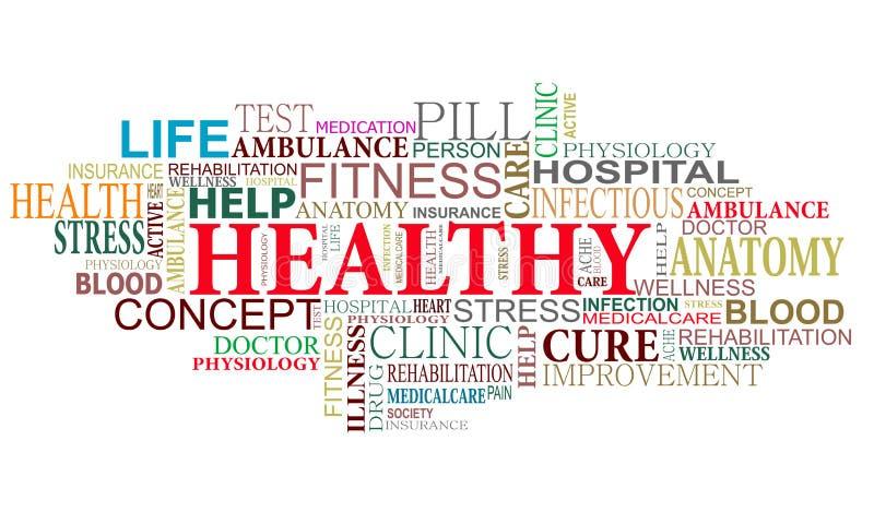 Nuvem dos Tag da saúde e do cuidado ilustração do vetor