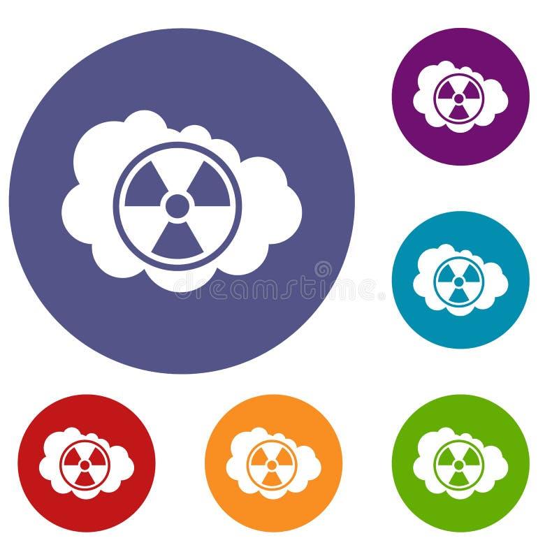 Nuvem e ícones radioativos do sinal ajustados ilustração stock