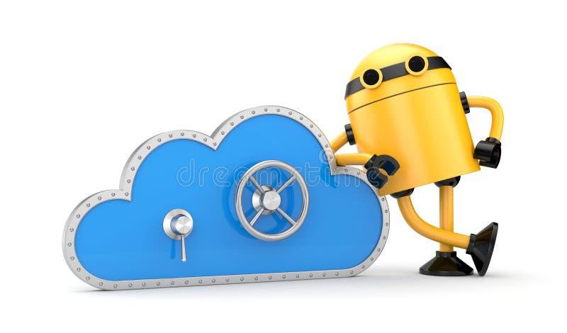 Nuvem e fechamento seguro com robô ilustração do vetor
