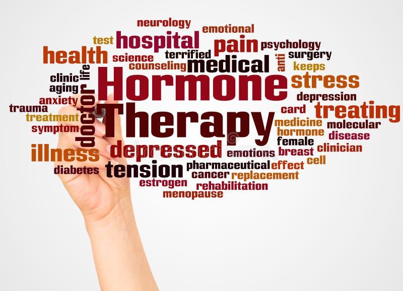 Nuvem e mão da palavra da terapia da hormona com conceito do marcador ilustração do vetor