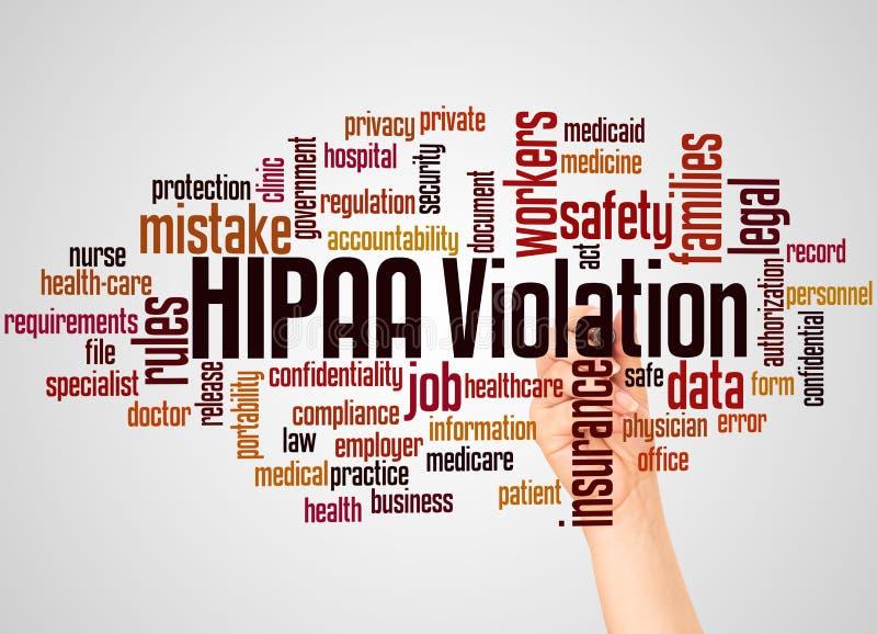 Nuvem e mão da palavra da violação de HIPAA com conceito do marcador fotos de stock