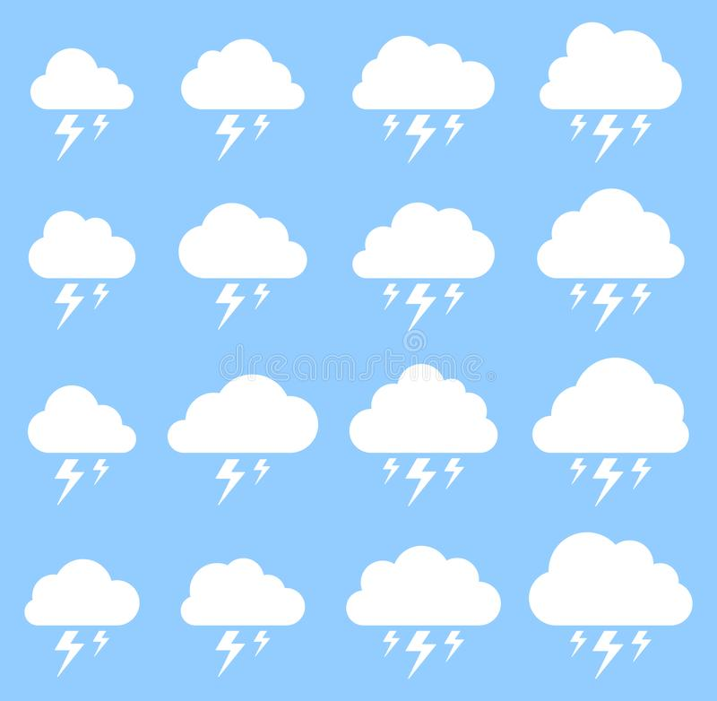 Nuvem e relâmpago, tempestade no fundo azul ilustração royalty free