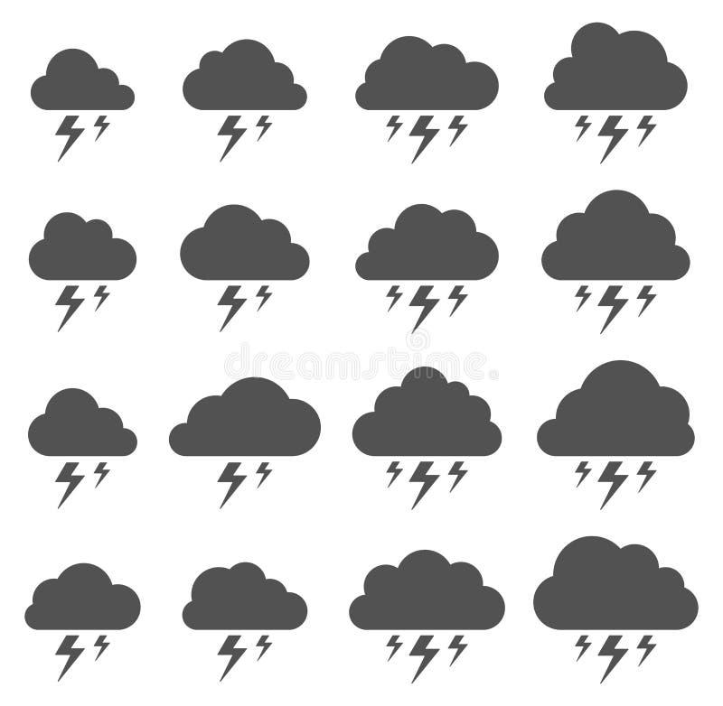 Nuvem e relâmpago, tempestade no fundo branco ilustração stock