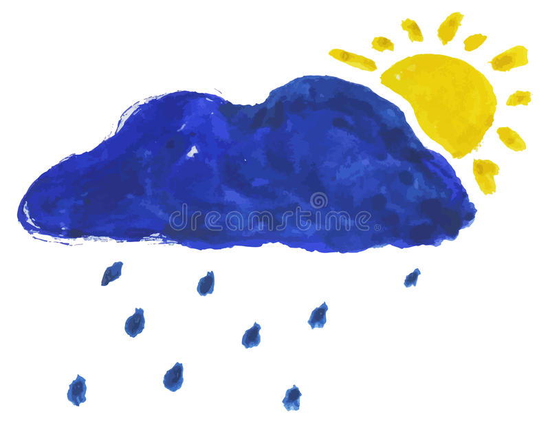 nuvem e sol da aquarela ilustração royalty free
