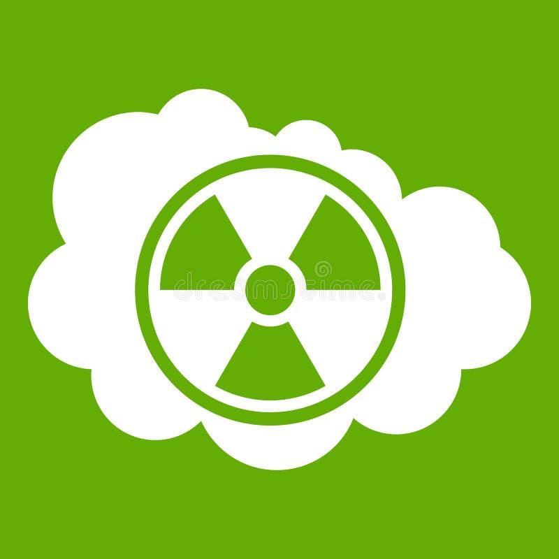 Nuvem e verde radioativo do ícone do sinal ilustração do vetor