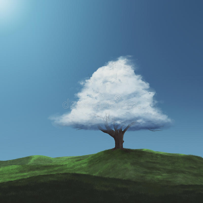 Nuvem em uma árvore fotografia de stock royalty free