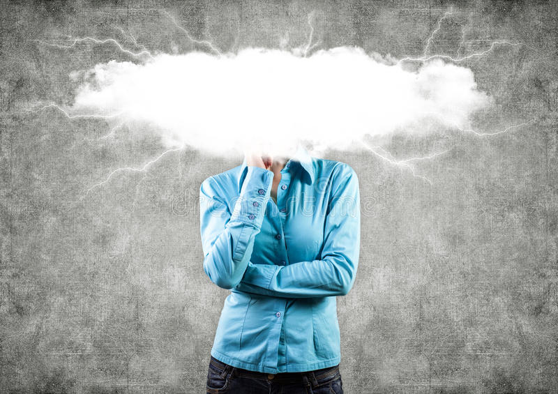 Nuvem em uma cabeça imagem de stock royalty free