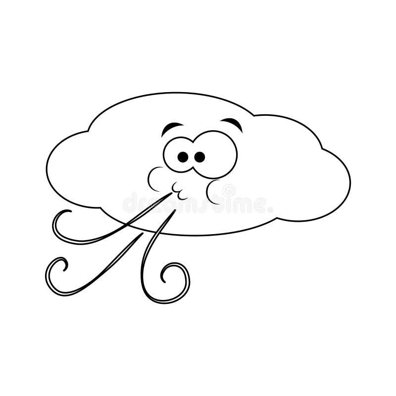 A nuvem engraçada incolor dos desenhos animados funde o vento Ilustração do vetor C ilustração royalty free