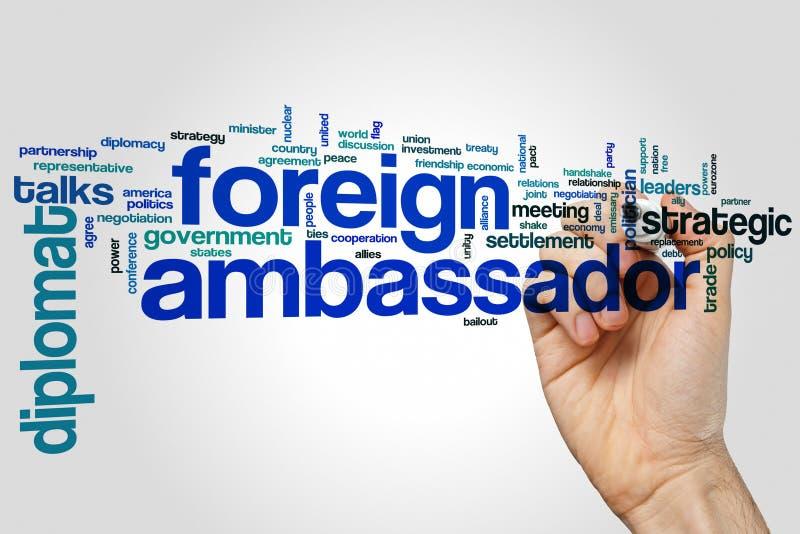 Nuvem estrangeira da palavra do embaixador foto de stock