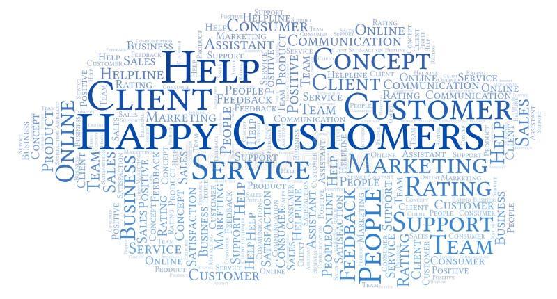Nuvem feliz da palavra dos clientes ilustração do vetor