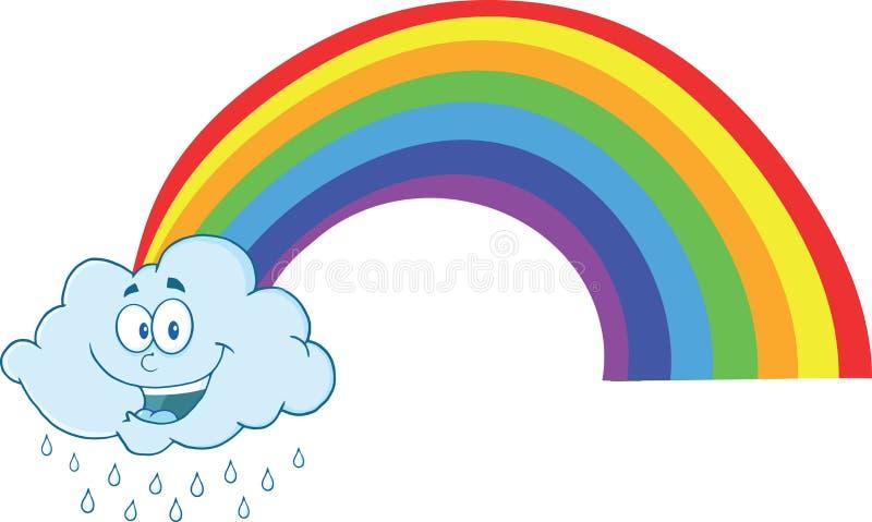 Nuvem feliz que chove com arco-íris ilustração do vetor