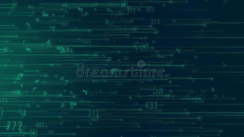 Nuvem grande da análise de dados do fluxo de dados que computa com código binário ilustração do vetor