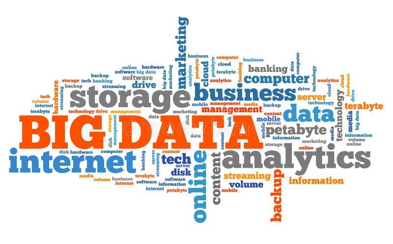 Nuvem grande da palavra de dados ilustração do vetor