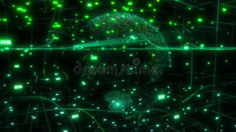 Nuvem grande dos dados em torno do Internet de computação digital da conexão de rede da rendição do sumário 3D do globo dos dados ilustração do vetor