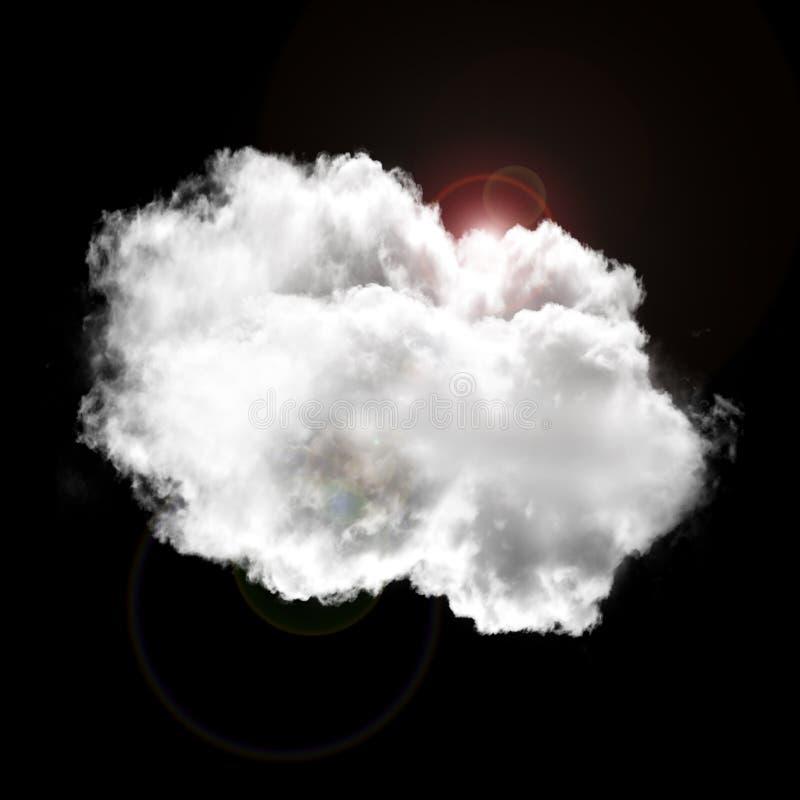 Nuvem isolada sobre o fundo preto ilustração stock