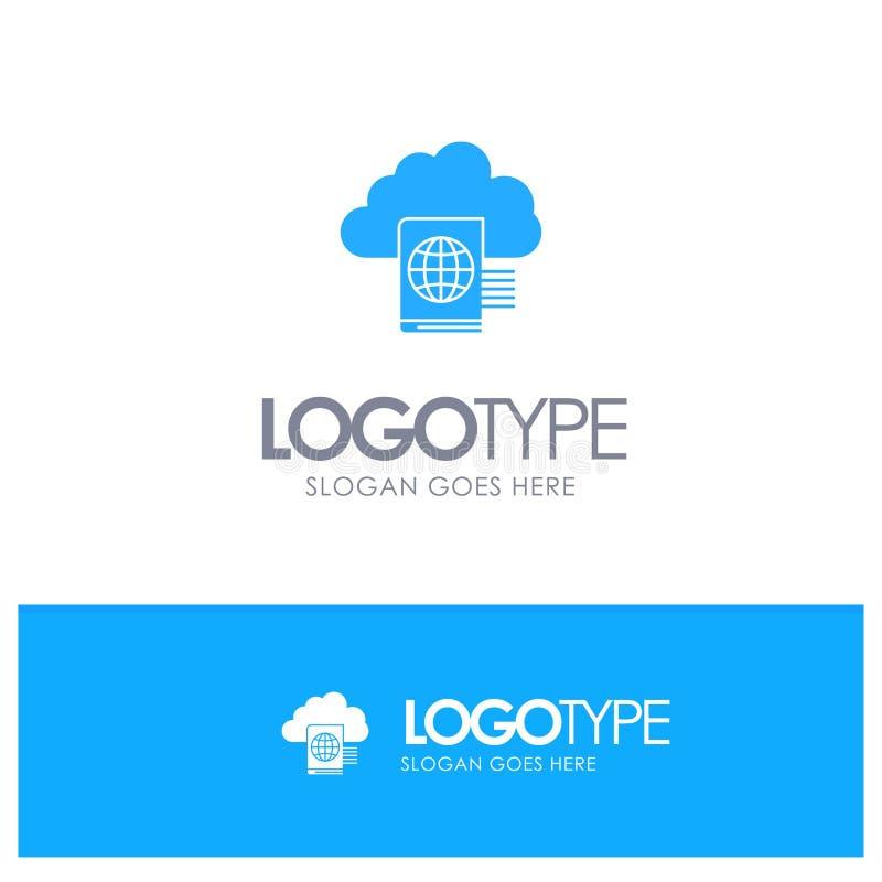 Nuvem, leitura, dobrador, logotipo contínuo azul da transferência de arquivo pela rede com lugar para o tagline ilustração stock