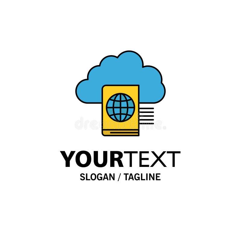 Nuvem, leitura, dobrador, negócio Logo Template da transferência de arquivo pela rede cor lisa ilustração stock