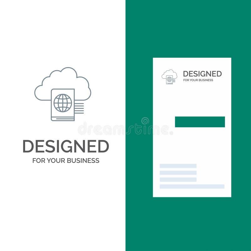 Nuvem, leitura, dobrador, transferência de arquivo pela rede Grey Logo Design e molde do cartão ilustração royalty free