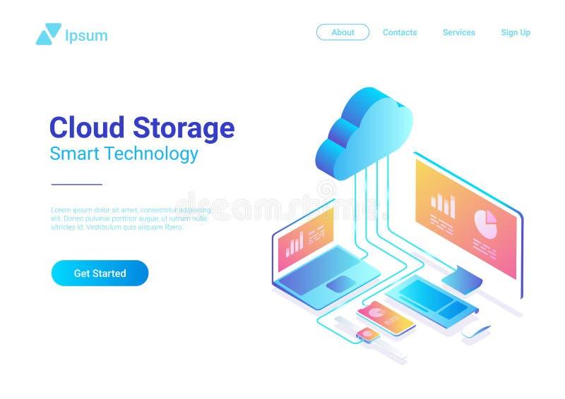 Nuvem lisa isométrica que hospeda o vecto do armazenamento da rede ilustração stock