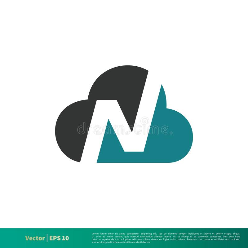 Nuvem Logo Template Illustration Design da letra de N Vetor EPS 10 ilustração royalty free