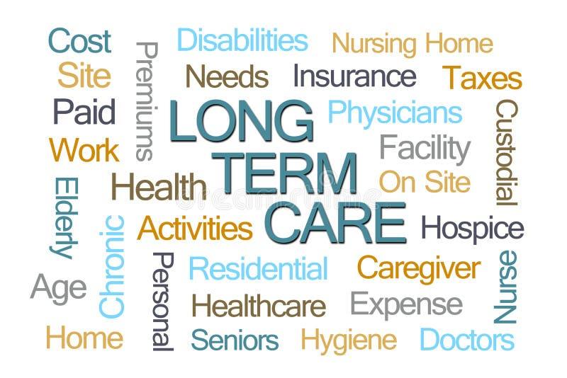 Nuvem a longo prazo da palavra do cuidado ilustração do vetor