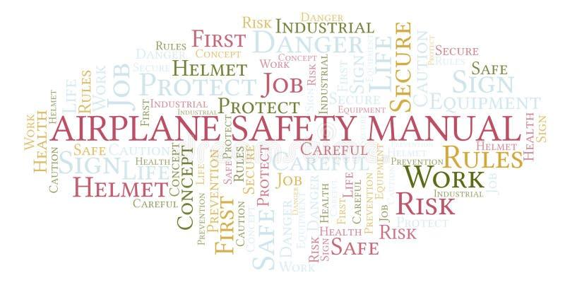 Nuvem manual da palavra da segurança do avião ilustração stock