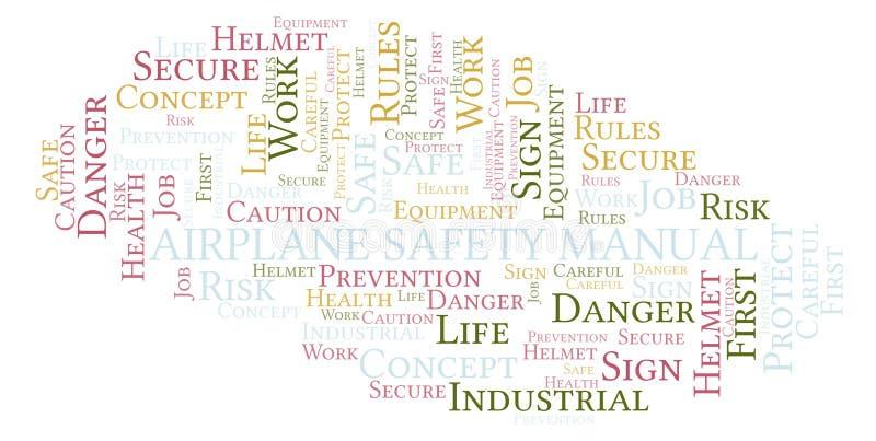 Nuvem manual da palavra da segurança do avião ilustração do vetor