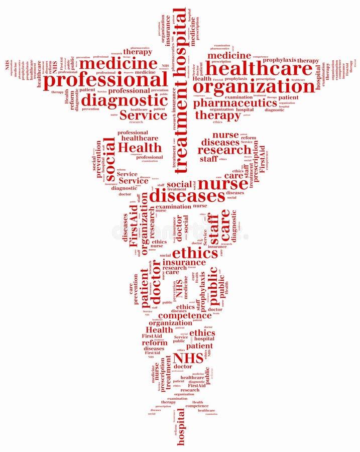 Nuvem NHS da palavra ou serviço de saúde pública relativo ilustração stock
