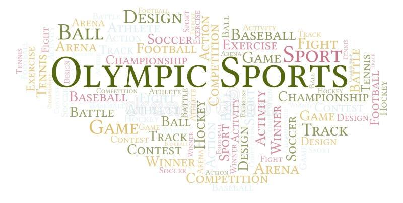 Nuvem olímpica da palavra dos esportes ilustração do vetor
