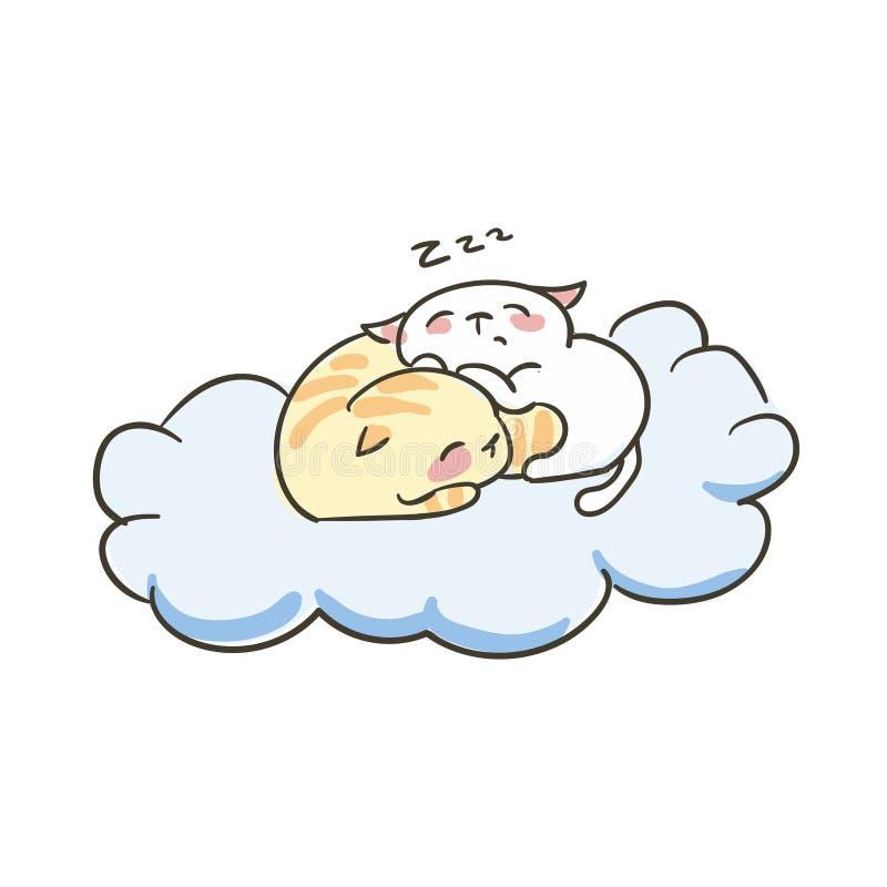 Nuvem pequena bonito do sono dos pares do vetor do gato da garatuja ilustração stock