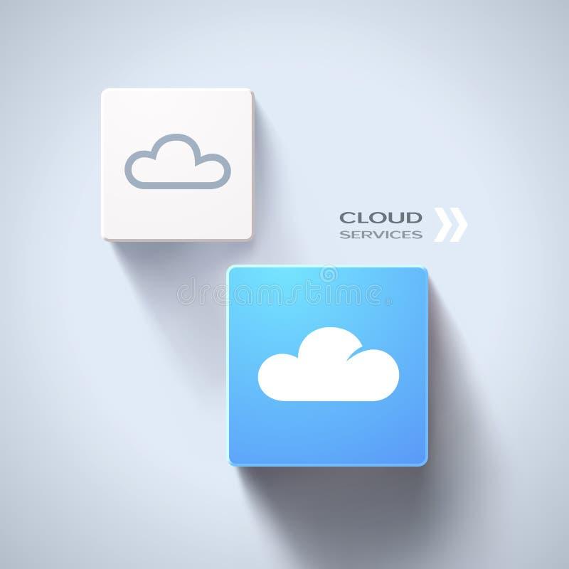 A nuvem presta serviços de manutenção ao conceito. Vetor Eps10 ilustração royalty free