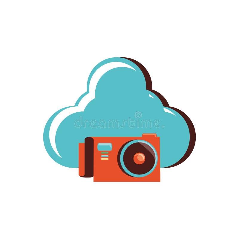 Nuvem que computa com câmera fotográfica ilustração stock