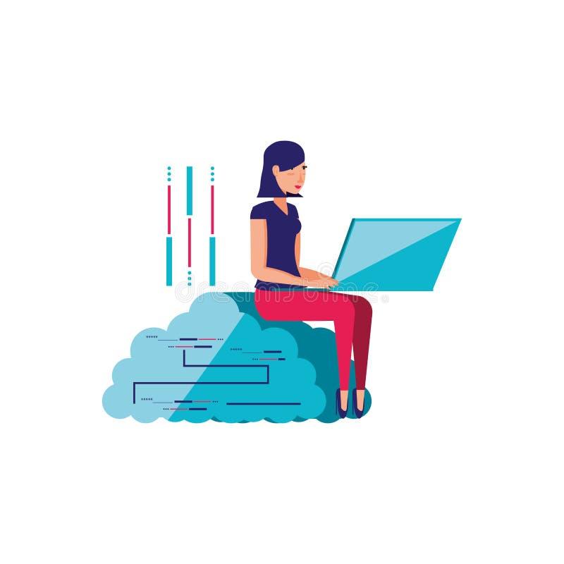 Nuvem que computa com jovem mulher ilustração royalty free
