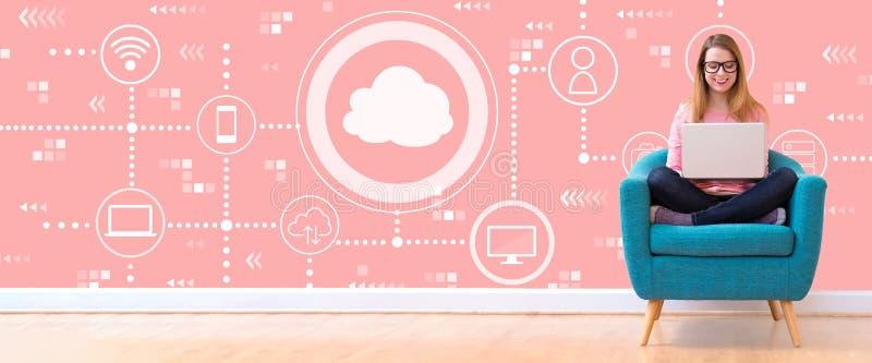 Nuvem que computa com a mulher que usa um portátil ilustração stock
